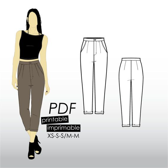 XS-M Pleated cropped trousers with pockets and tapered leg (PDF ...