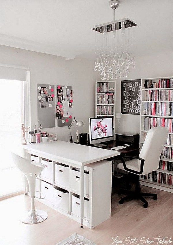 Feminine Glamour With Peaceful Color Conbination, White, Pink And Grey!  Glam, Girly Or With A Powerful Color Palette, This Home Office Gives  Working Girls ...