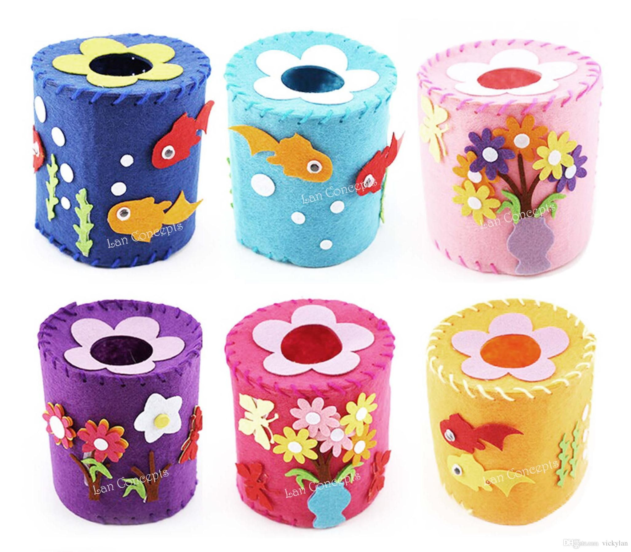 Kids toy diy craft kit nonwoven felt tissue toilet paper Kids toilet paper holder