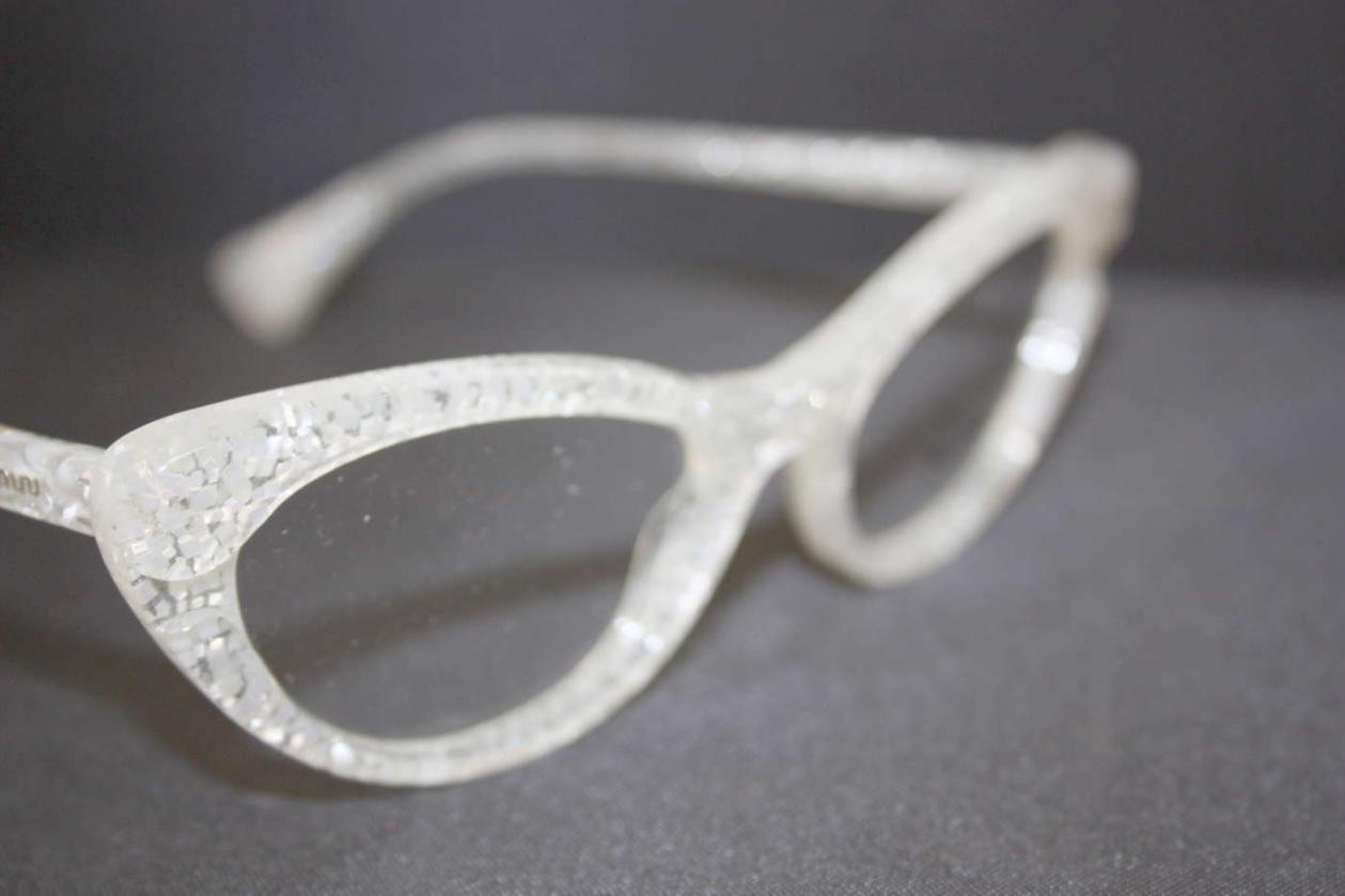 01d064e44bd Details about Miu Miu Women s Silver Glitter Frames Eyewear ...