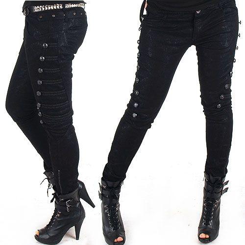 Pantalones Elasticos Pitillo Gothic Pants Fashion Punk Fashion