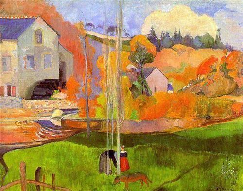 A breton landscape 1894. David's mill. - Paul Gauguin