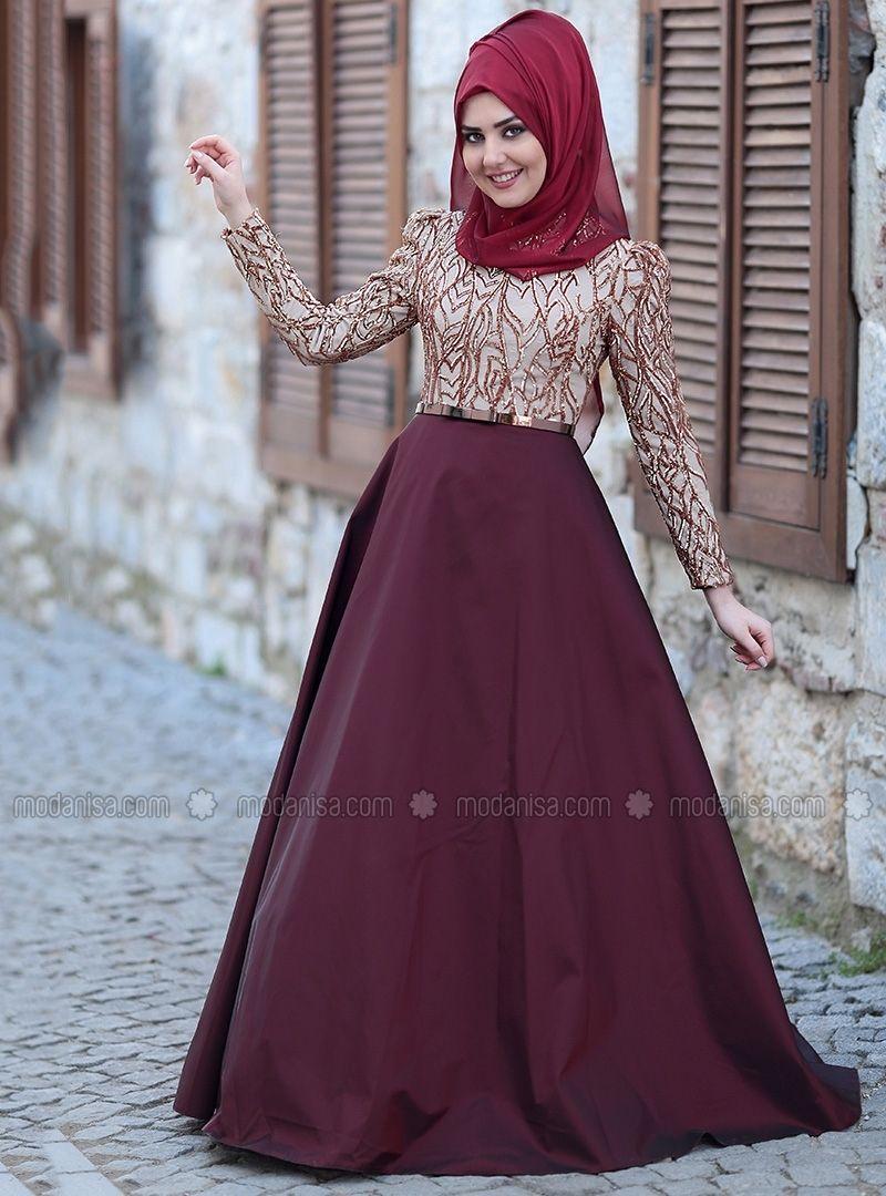 0f18100cb96 Maroon - Gold - Fully Lined - Crew neck - Muslim Evening Dress - SomFashion