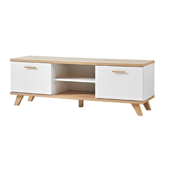 Ohio LCD TV Stand In White And Solid Oak With 2 Door And Shelves ...