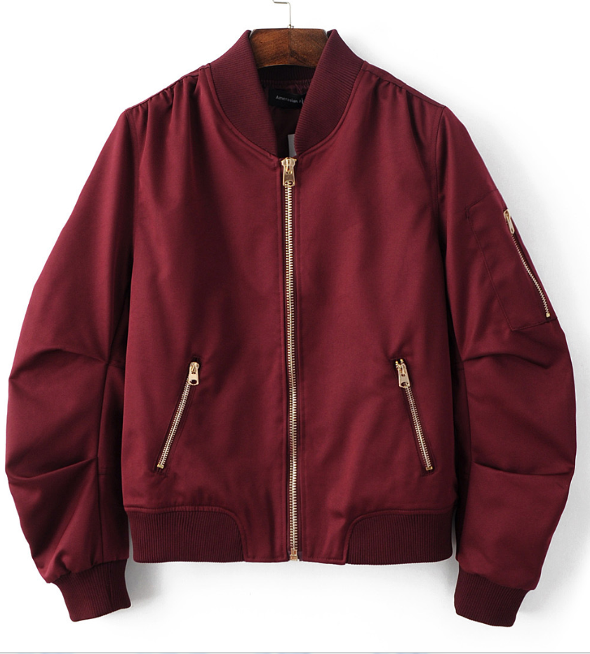 Burgundy red pleated bomber jacket clothes stretches