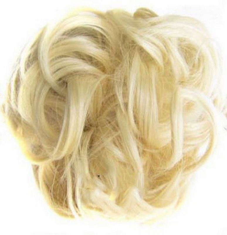 Messy Hair Scrunchies Hair Bun Extensions Wavy Curly Messy Hair Extensions Donut Hair Chignons Hair Piece Wig Hairpiece,Light Brown