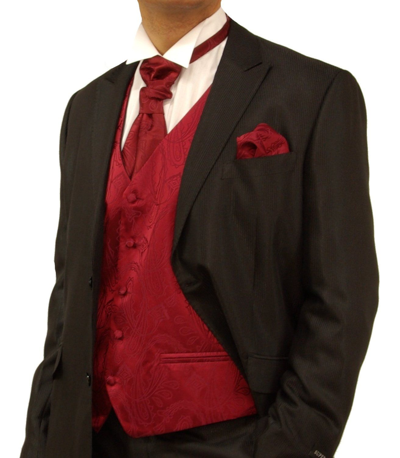 Red And Black Tux Wedding