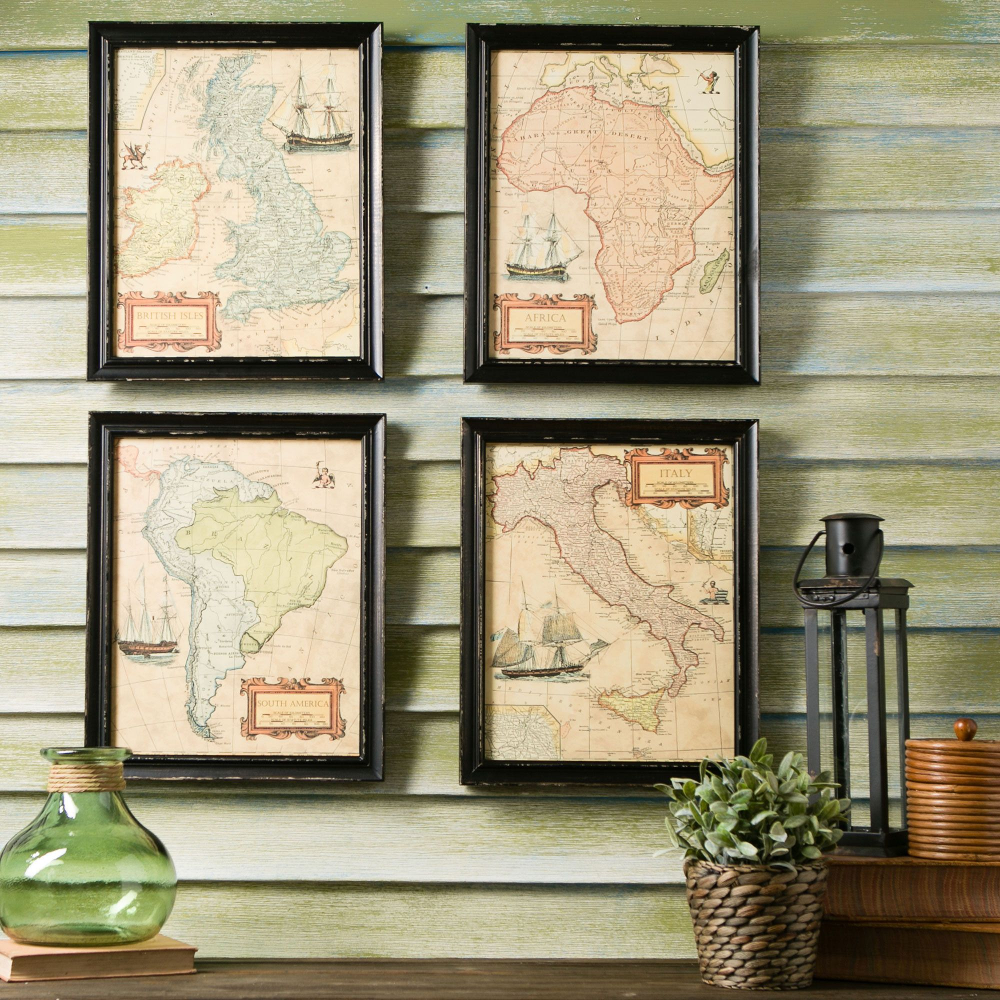 Birch Lane Belgrave Framed Prints - Coordinating historical maps of Africa, Italy, British Isles, and South America framed in dark wood look stunning displayed individually throughout your home or office or grouped together.