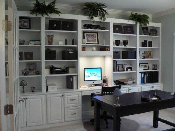 home office built in simple white cabinets | office interior