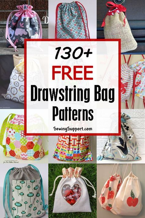 130+ Free Drawstring Bag Patterns & Tutorials - Drawstring bag pattern, Bag pattern, Drawstring bag diy, Drawstring backpack pattern, Drawstring bag tutorials, Drawstring backpack diy - Lots of free drawstring sewing patterns, tutorials, diy projects  Many cute, easy, simple designs to sew for small and large bags  Make great laundry, gym, toy, and gift bags  Instructions for how to make a drawstring bag