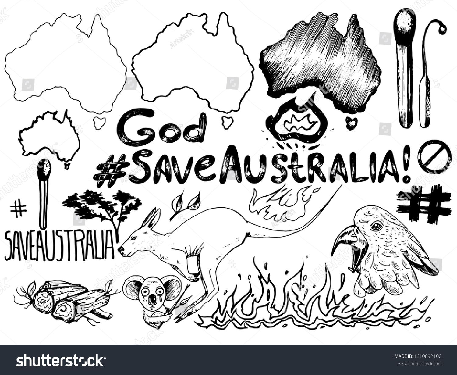 Vector set on the theme of the fire in Australia. The set