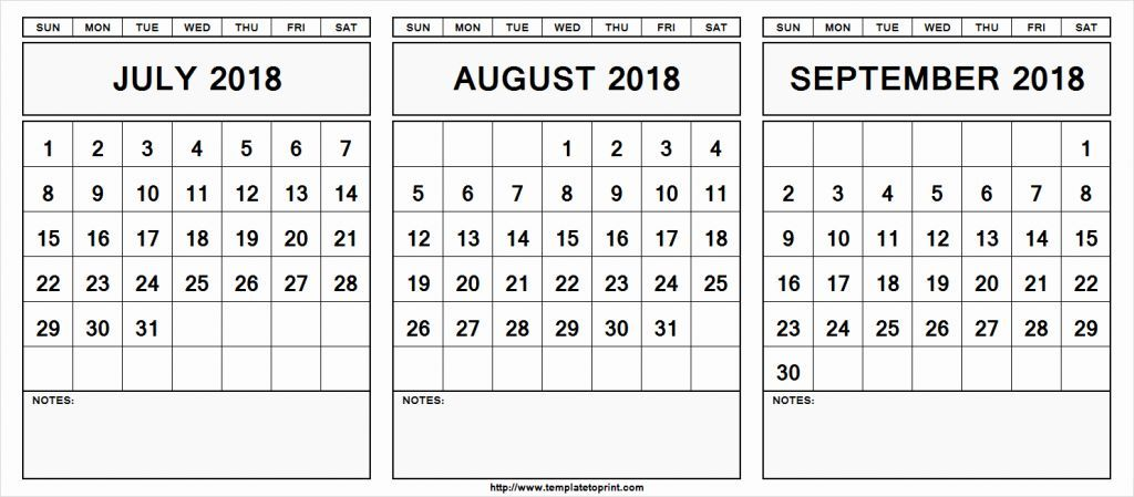 July August September 2019 Calendar In Pdf Word Excel Printable