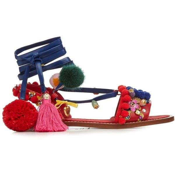 Dolce & Gabbana Pompom-embellished leather flat sandals (£675) ❤ liked on Polyvore featuring shoes, sandals, flats, red multi, embellished flat sandals, red flat sandals, flat shoes, red leather flats and red shoes