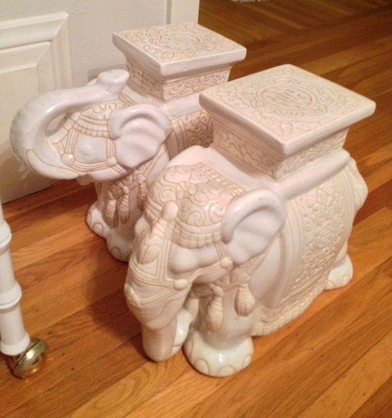 Vintage Ceramic Elephant Garden Stools #32 - Vintage Elephant Garden Stool Side Table By ArtandAntlers On Etsy