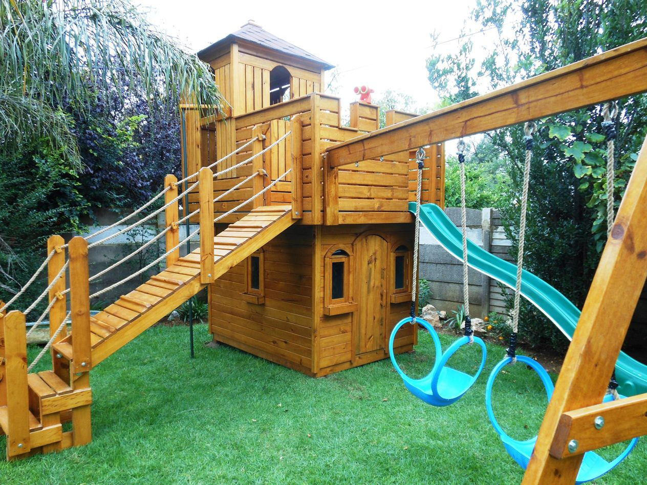 Kids wooden castle playhouse google search kids for Boys outdoor playhouse