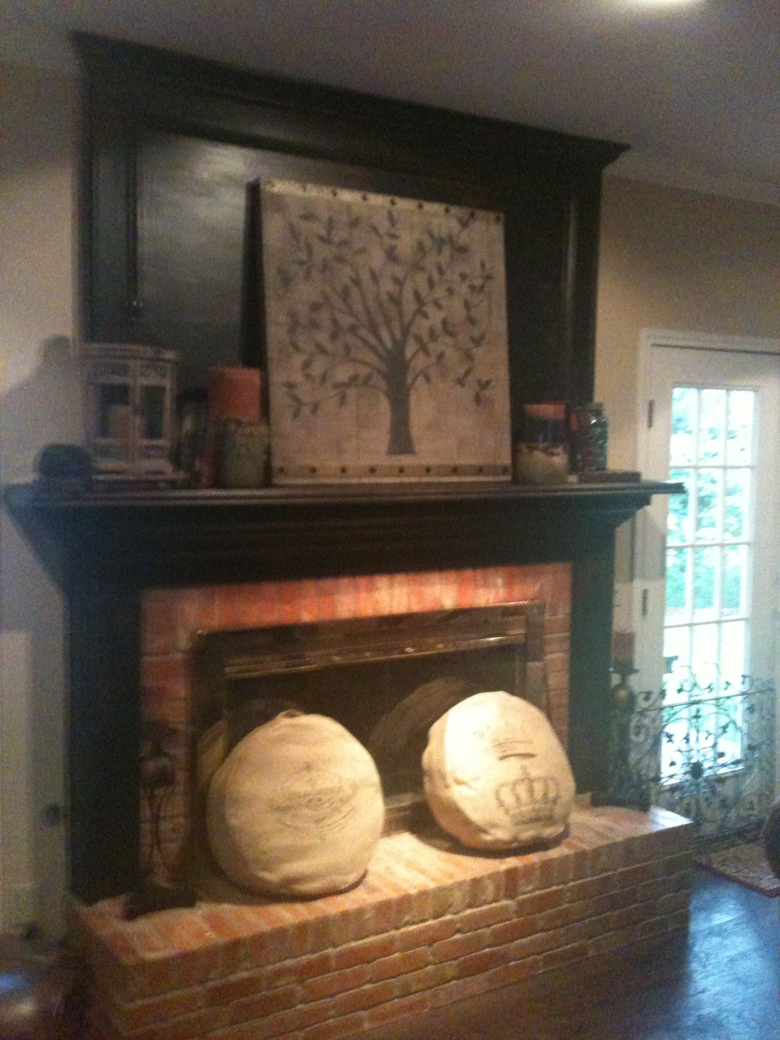 We Just Painted And Distressed Our White Fireplace Mantle And Surround For The Home