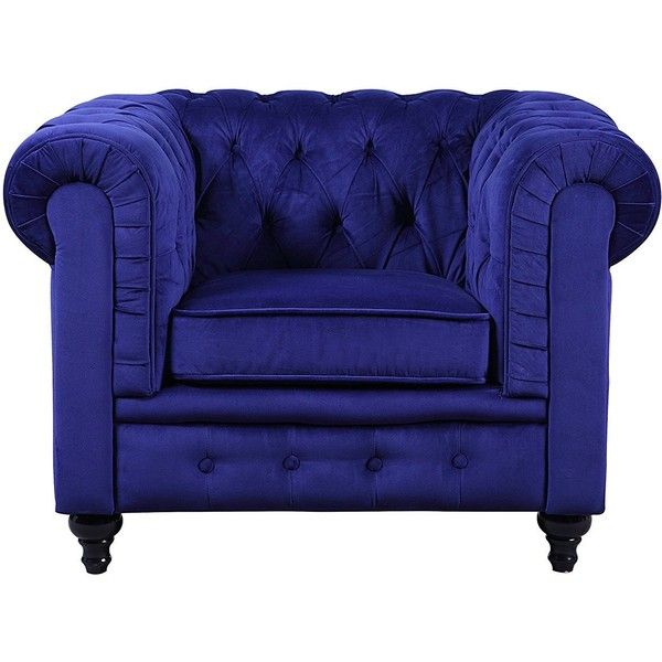 Classic Scroll Arm Large Velvet Living Room Accent Chair Navy Blue