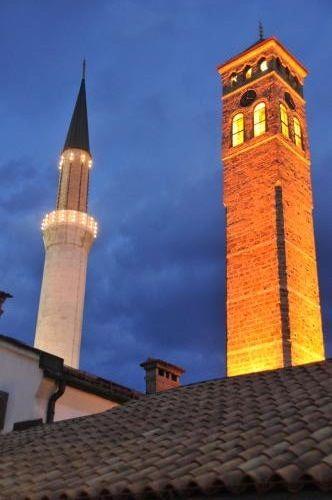 Old Sarajevo Clock Tower and minaret.