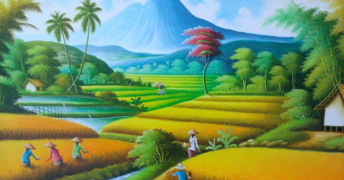 Terkeren 30 Lukisan Pemandangan Pantai Dan Gunung di 2020