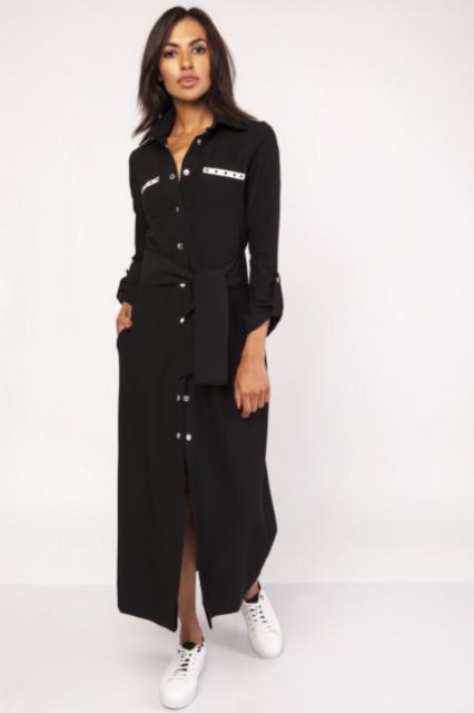 0ca2781475 Czarna długa sukienka z paskiem. Idealna do sportowych stylizacji i  trampek. z białymi dodatkami. Styl militarny
