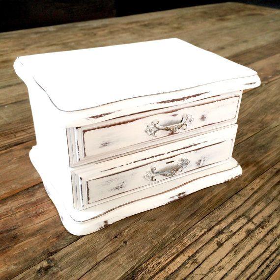 White Jewelry Box small shabby chic by EllasAtticVintage on Etsy
