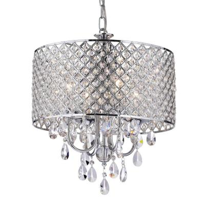 Marya 4 Light Chrome Round Chandelier With Beaded Drum Hanging