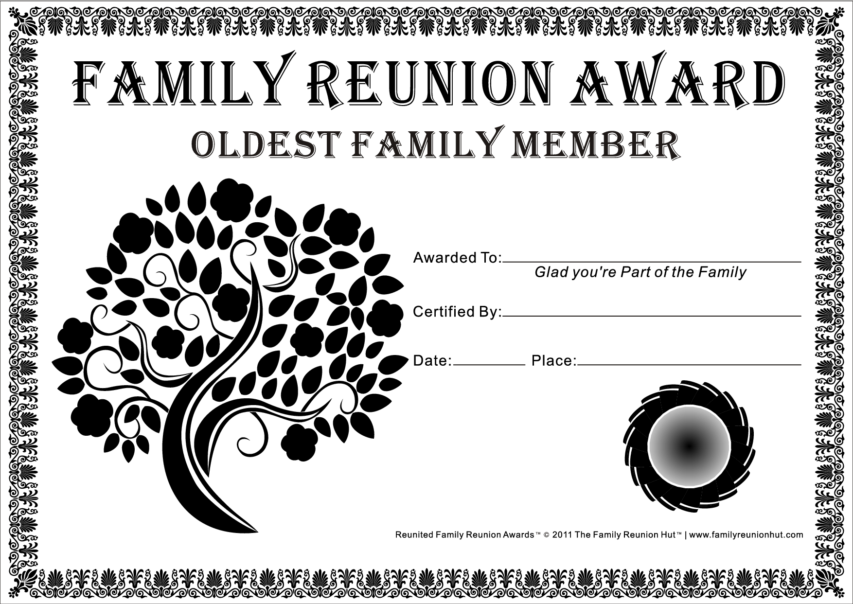 Family Reunion Certificates Tree In Bloom 18 Is A Free Family