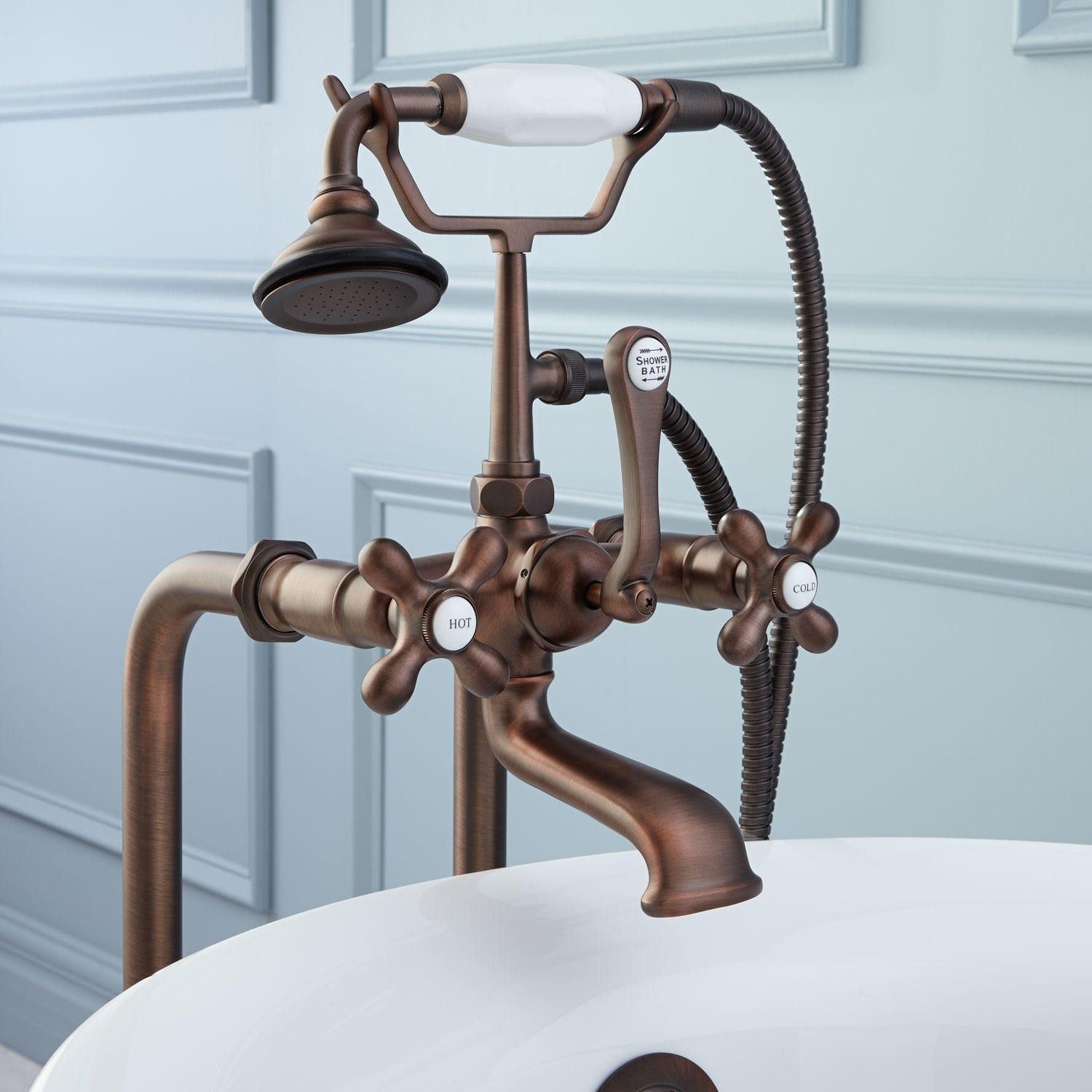 Fabulous Freestanding Telephone Clawfoot Tub Bronze Faucet And Bathroom Hardware