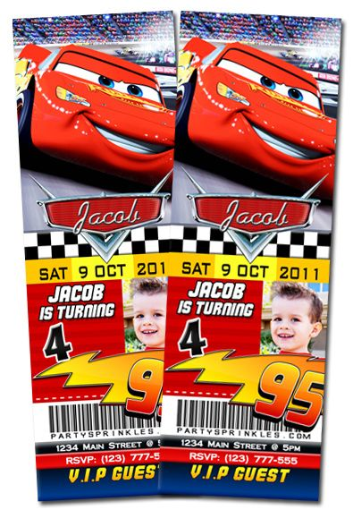 disney cars birthday party invitations - ticket style mcqueen, Birthday invitations