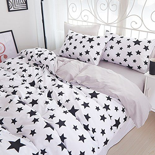 Fadfay Cute Star Bedding White And Black Star Kids Cotton Duvet Cover Set 4pcs Queen White Bedding Star Bedding Duvet Cover Sets