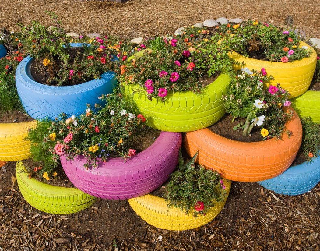 Recycled tires for garden planters kids could have their for Using tyres as planters