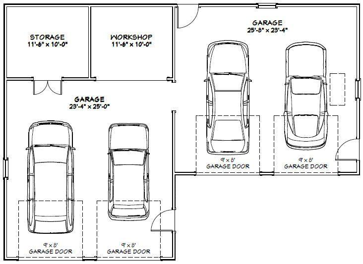 Car Garage 75592 Jpg 732 533 Pixels Car Garage Garage Floor Plans Garage Dimensions
