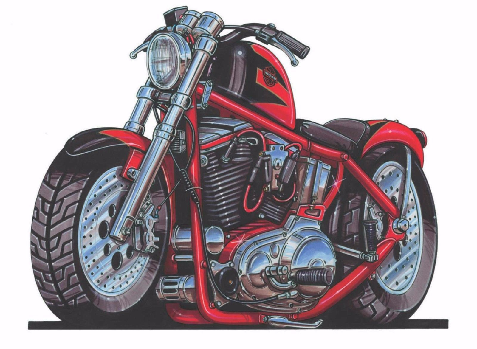 Details about Harley Davidson Red Sport Motorcycle Printed