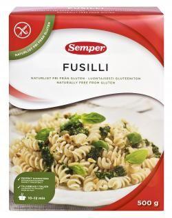 Semper glutenfri fusilli. Dette merket har ulike typer glutenfri pasta som jeg kan spise. Finnes i de fleste matvarebutikker.
