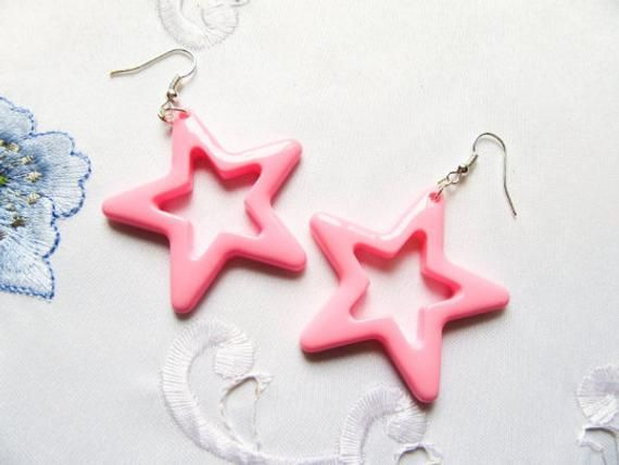 Big Pink Star Earrings, Star Earrings, Kawaii Earrings, 80s Earrings -