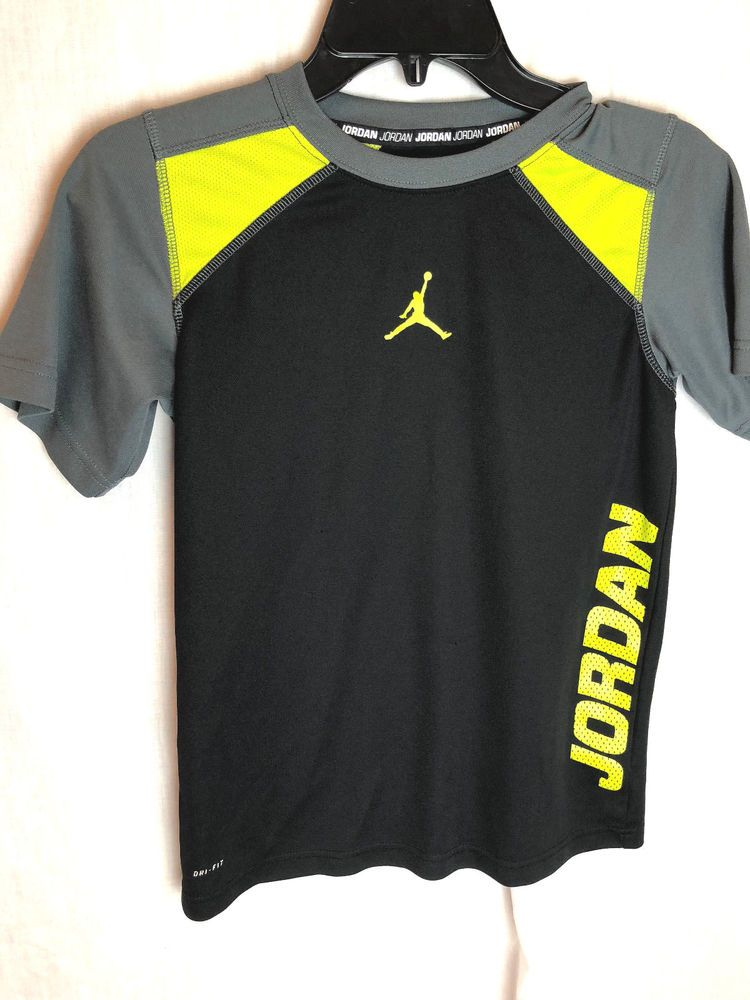 4a68c323589639 Nike Dri-Fit Jordan Training Shirt Size Medium 10 12 Fitted Black Neon Gray   Nike