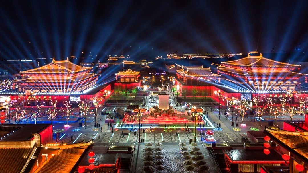 The brilliant colours and lights of night Xi'an, the