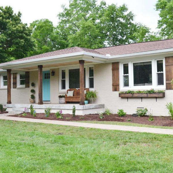 Lowe S Home Exterior Makeover Reveal Beneath My Heart Brick Exterior House Ranch House Remodel House Paint Exterior