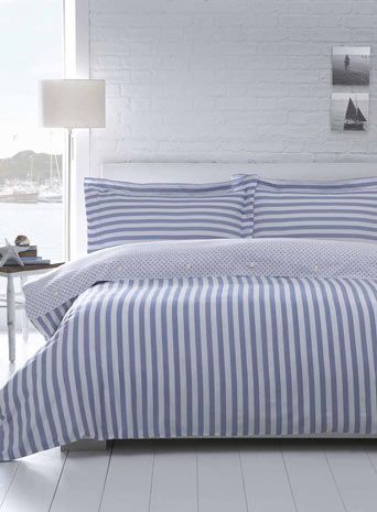 Blue And White Stripe Bedding Almost The Same As Ours Like The