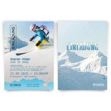 Frische #Einladungskarten Im #Skipass Design In Blau / Weiß. Mit Eigenem  Text. Auf Http://www.kartenmachen.de/shop/einladungskarten Als Skipass.html