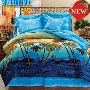 Palm Tree Comforter Sets Palm Tree Queen Comforter Set 4 Piece Bedding Home Kitchen Queen Comforter Sets Comforter Sets Full Comforter Sets Palm tree comforter sets queen