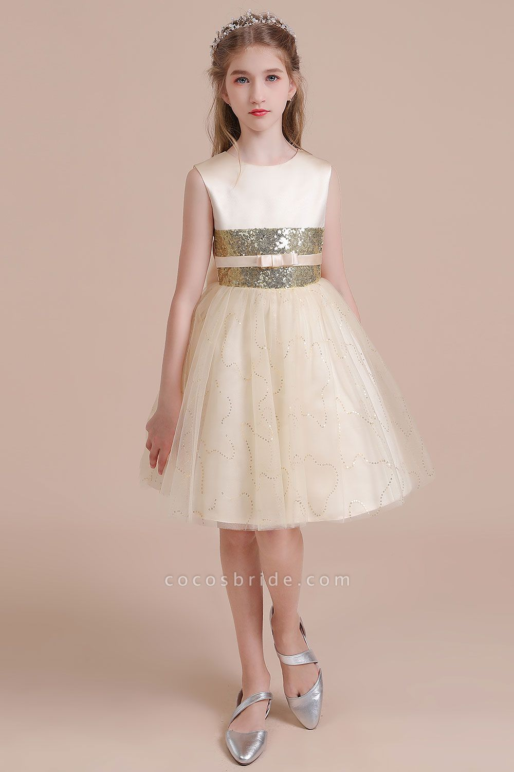 Cute Sequins Tulle A Line Flower Girl Dress In 2020