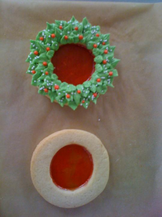 coronas de navidad con centro de caramelo