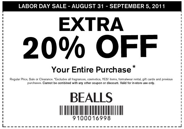 Bealls Coupons In Store Printable Right Now Bealls Has A Printable Labor Day Sale Coupon You Can Us Printable Coupons Free Printable Coupons Clothing Coupons