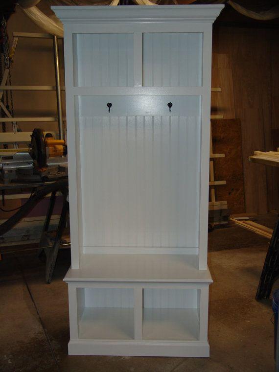 34 Wide Beadboard Hall Tree With 2 Upper Lower Storage Cubbies Entryway Furniture Locker Coat Rack Mudroom Cubby