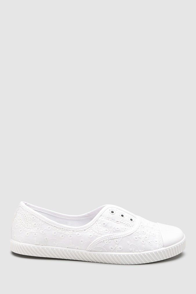 buying now really cheap best wholesaler Womens Next White Laceless Canvas Pumps - White | Clothes in ...
