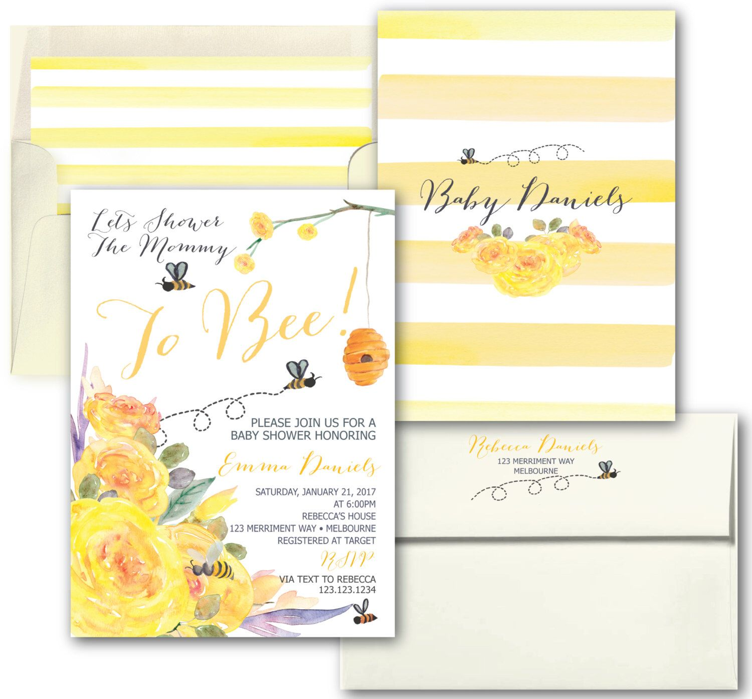 Bee baby shower invitation yellow baby shower invitation bee baby shower invitation yellow baby shower invitation stripes floral bees black watercolor melbourne collection filmwisefo