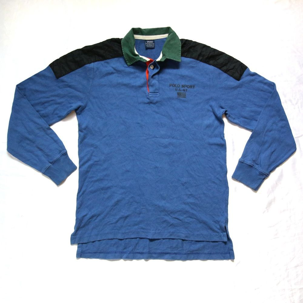 Vintage 90s Polo Ralph Lauren USA Flag RL-67 Long Sleeve Rugby Shirt for  sale