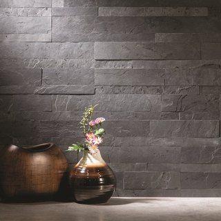 Grey Stone Backsplash Kitchen aspect 6 x 24-inch charcoal slate peel and stick stone backsplash