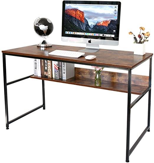 Amazon Com Homekoko 47 Home Office Desk Computer Desk With Storage Shelf Study Table Modern Writing Desk Writing Desk Modern Desk Storage Home Office Desks